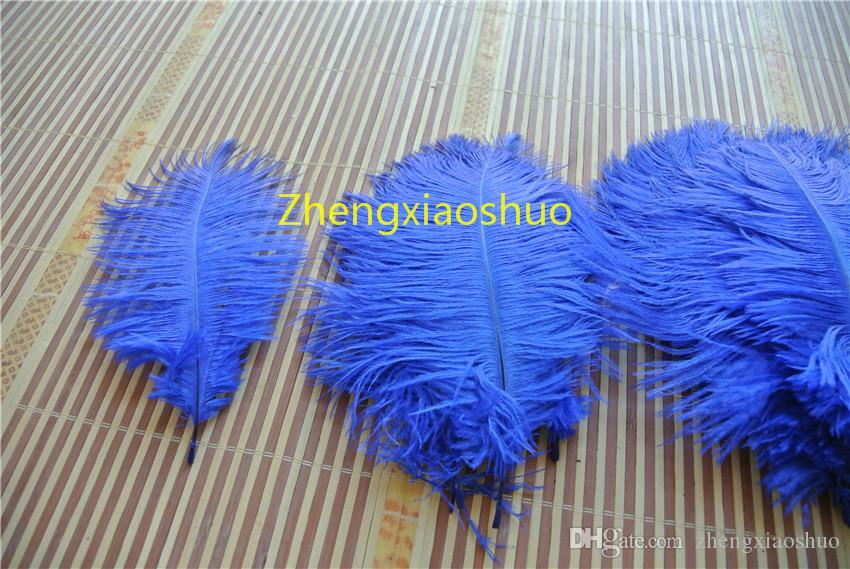 Großhandel 100 Stücke 10-12 Zoll Royal Blue Straußenfedern für Hochzeit Tischdekoration Hochzeit Mittelstück Dekor Party Dekor