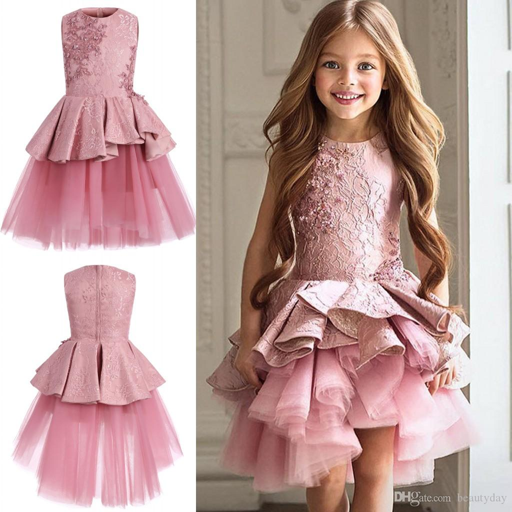 Großhandel 2018 Cute Pink Pageant Kleider Jewel Neck Sleeveless ...
