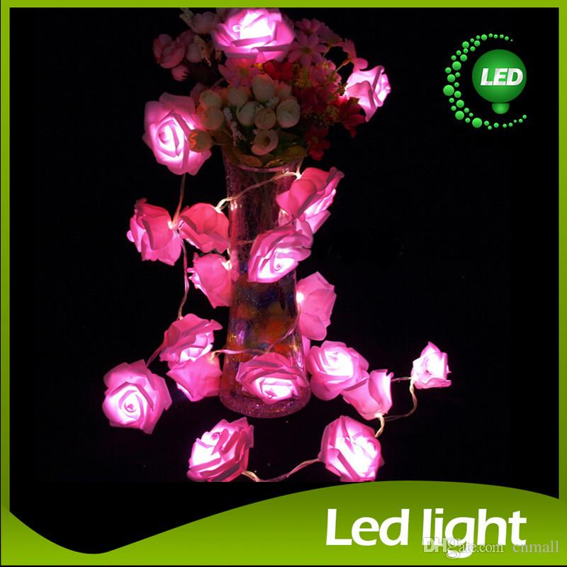 2015 LED Strings LED Rose Strings 20 LED Christmas String Light Wedding Flower Rose Fairy String Lights Lamp Indoor/Outdoor LED String Light