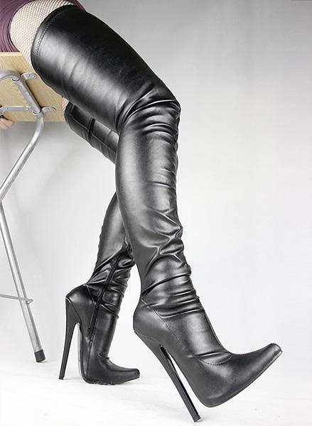 WonderHeel Sexy Fetish Piled Toe Stiletto 18cm Stiletto Heel Extreme High Heels Duży rozmiar Over The Knane Thigh High Boots BDSM Crotch Boot