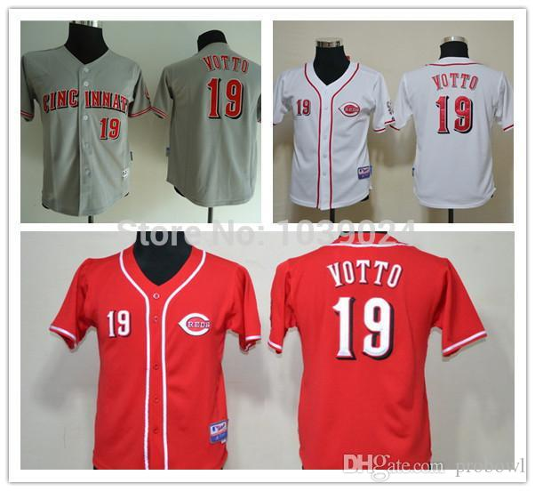 new style d9230 ff00f netherlands cincinnati reds 19 joey votto gray kids jersey ...