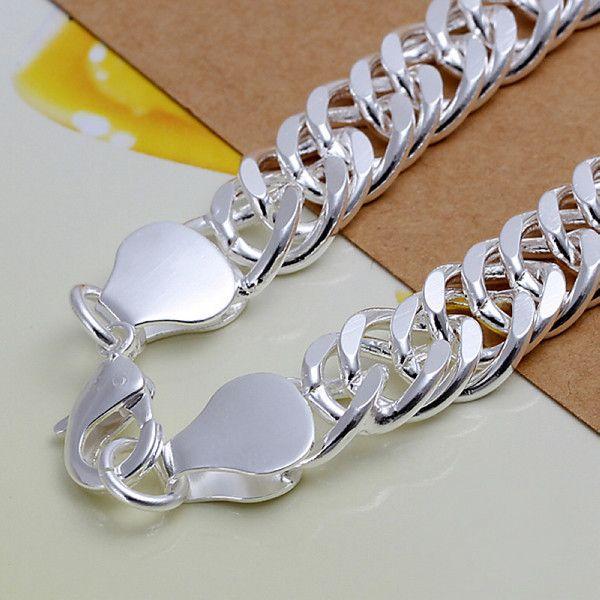 حار بيع أفضل هدية سوار الفضة 925 B10M الجانب كله - رجال DFMCH102، العلامة التجارية الجديدة أزياء 925 الفضة الاسترليني سلسلة مطلي صلة أساور