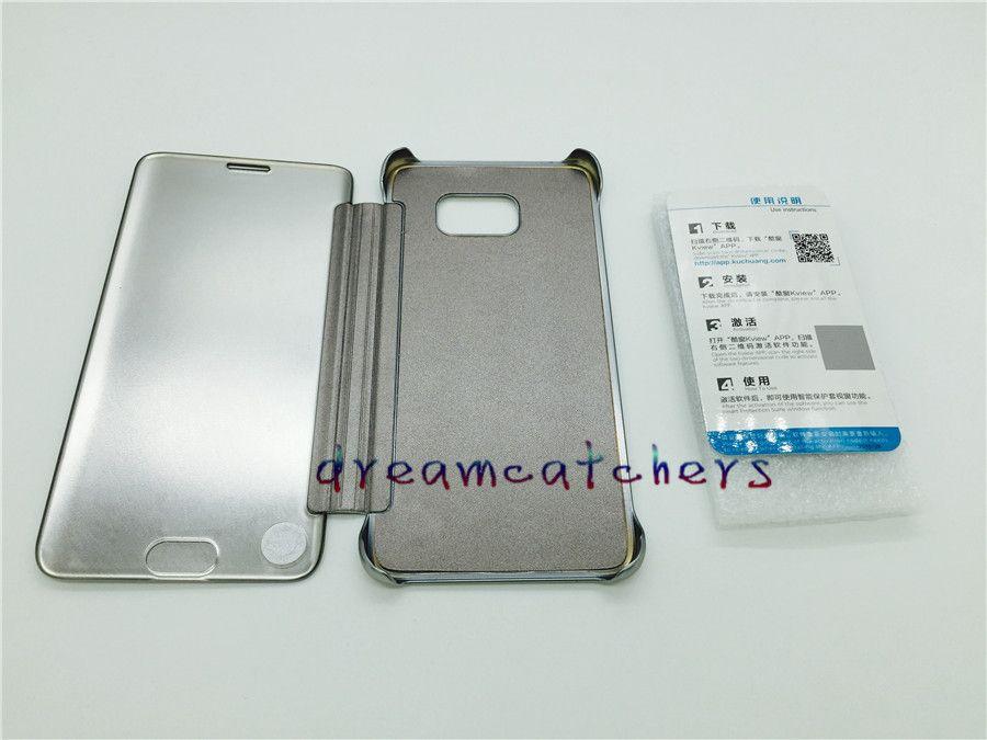 Custodia rigida in pelle specchiata Custodia rigida in plastica placcata trasparente Trasparente Visualizza copri portafoglio cromata Samsung Galaxy S7 bordo S7 Nota 5
