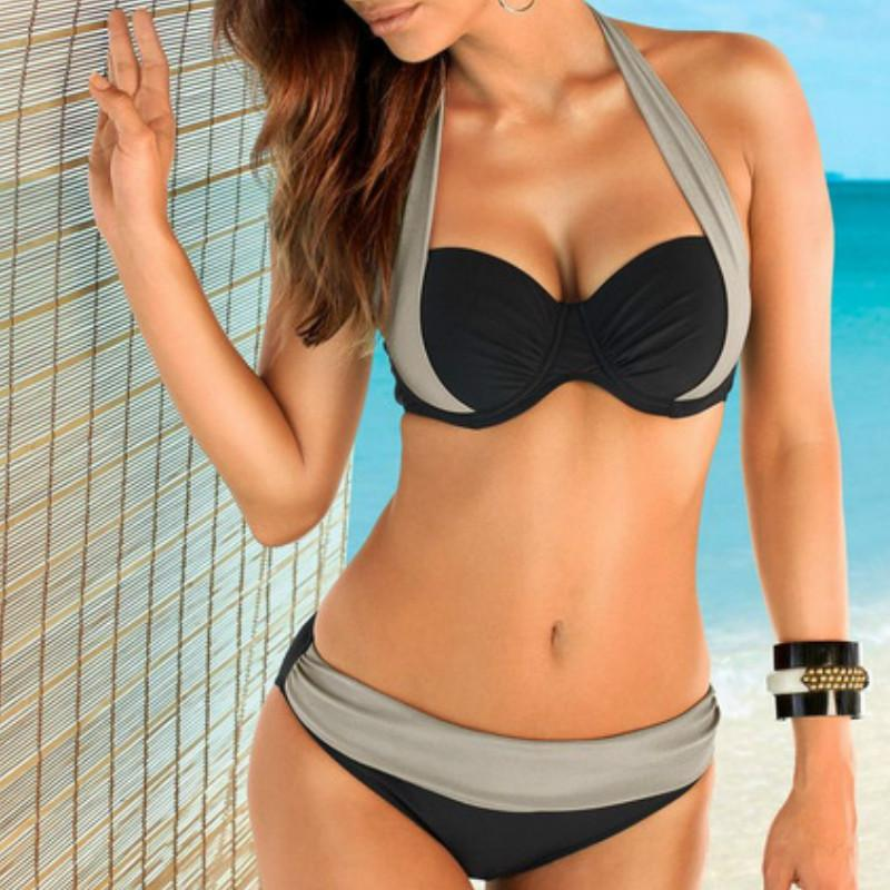 2e45d2c4e53a9 2019 2016 Newest Sexy Bikinis Women Swimsuit High Waisted Bathing Suits  Swim Halter Top Push Up Bikini Set Plus Size Swimwear Brazilian Suits From  ...