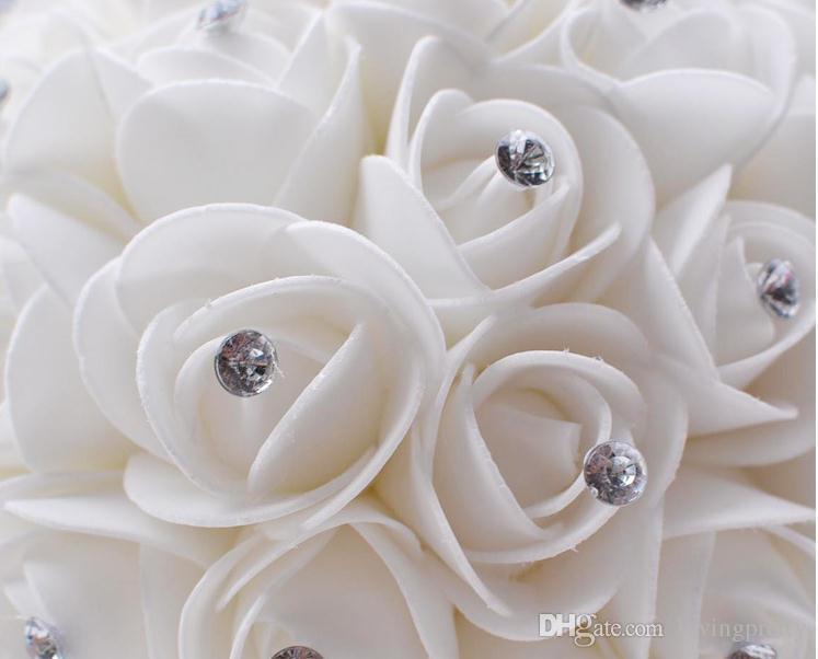 Jane Vini Cheap White Bridal Bouquet PU Roses Crystal Beaded Wedding Flower Bouquet Beige Artificial Brooch Bouquet Bride Ramo De Novia 2017