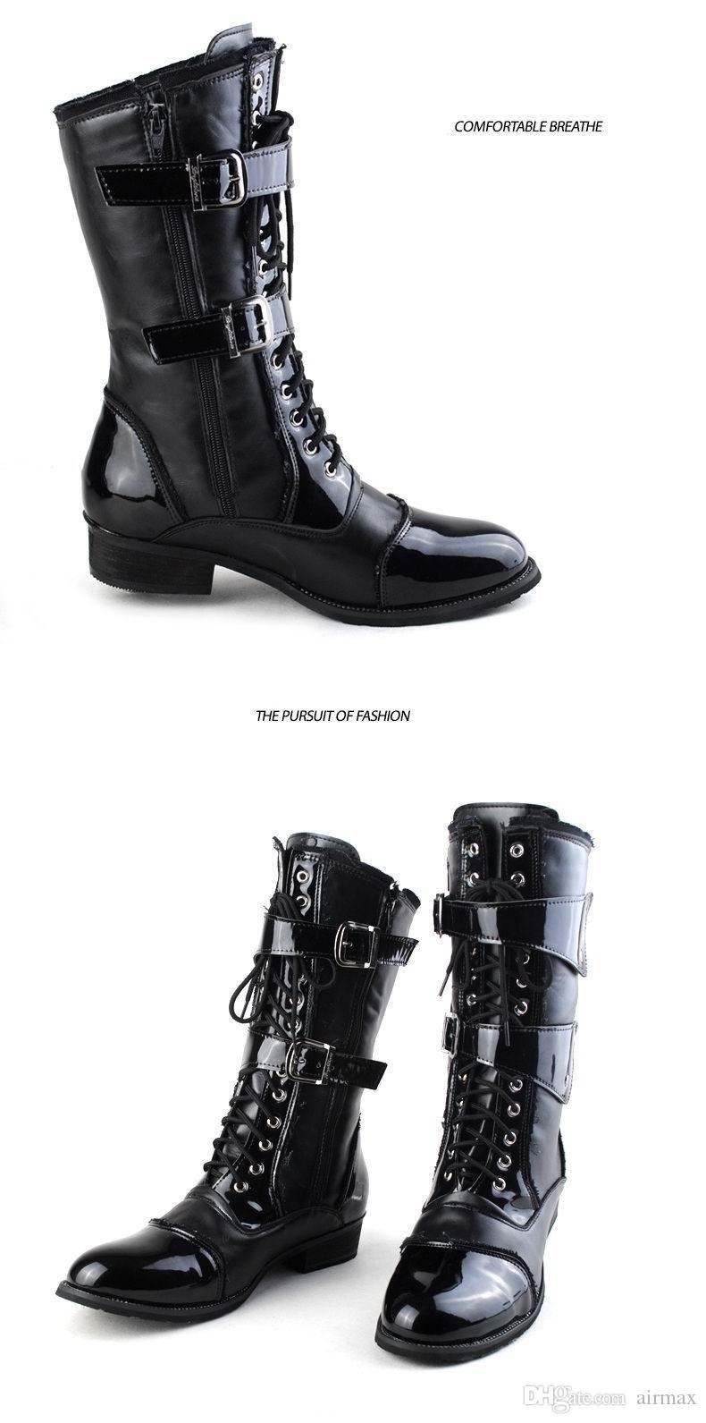 Nuovo design moda marea metà stivali a metà gli uomini allacciati con fibbia stivale da moto uomo vestirsi in pelle PU stivali da cowboy Martin 38-45