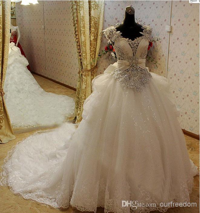 Real Zdjęcia 2021 Center Novias A-Line Crystal Suknie Ślubne Suknia Ślubna Z Corset Back Lace Aplikacje Kaplica Pociąg