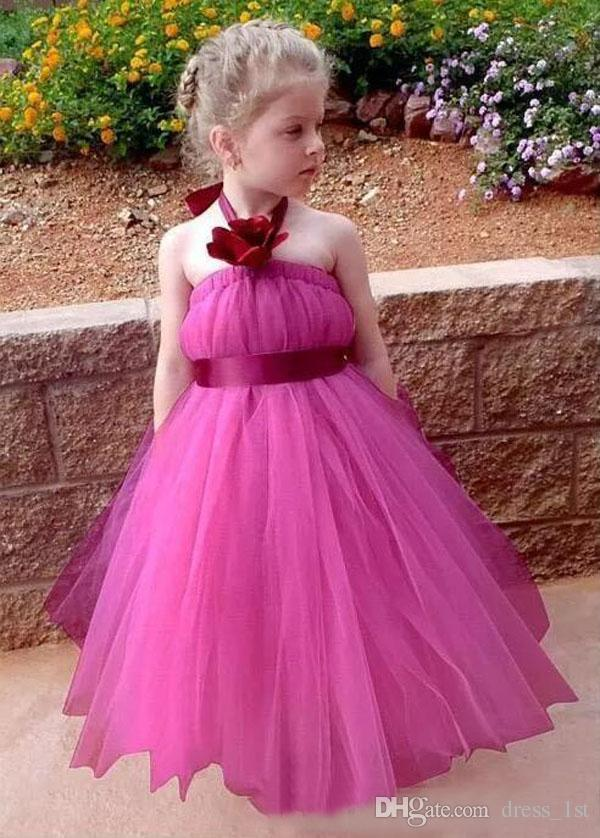 Cute 2018 Fuchsia Tulle Princess Flower Girl Dresses For Weddings Cheap Halter Hand Made Flowers With Sash Girls Pageant Gowns EN10309