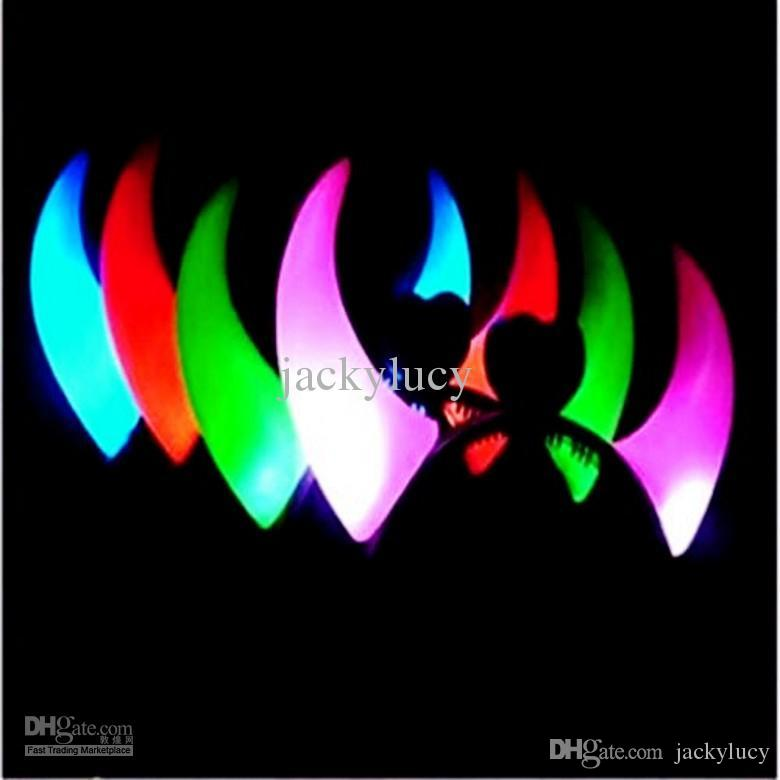 LED Cheer Flashing Devil OX Horn Hair Band Luminous Hair Clip Headband For Kids Toys Gifts Halloween Christmas Party Decoration