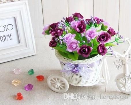 Großhandel Künstliche Blumen Vasen Weiße Blumen Handmade Rattan ...