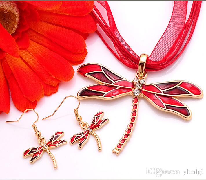 New Arrival Clear Austrian Crystal purple/red/black/green/blue Enamel Necklace Earrings dragonfly Jewelry Sets Women gift