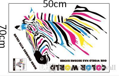 Couleur Monde Cheval Mur Art Affiche Murale Décor Unique Créatif Bar Sticker Mural Décalque De Fenêtre PVC Amovible Coloré Zèbre Papier Peint Décalque