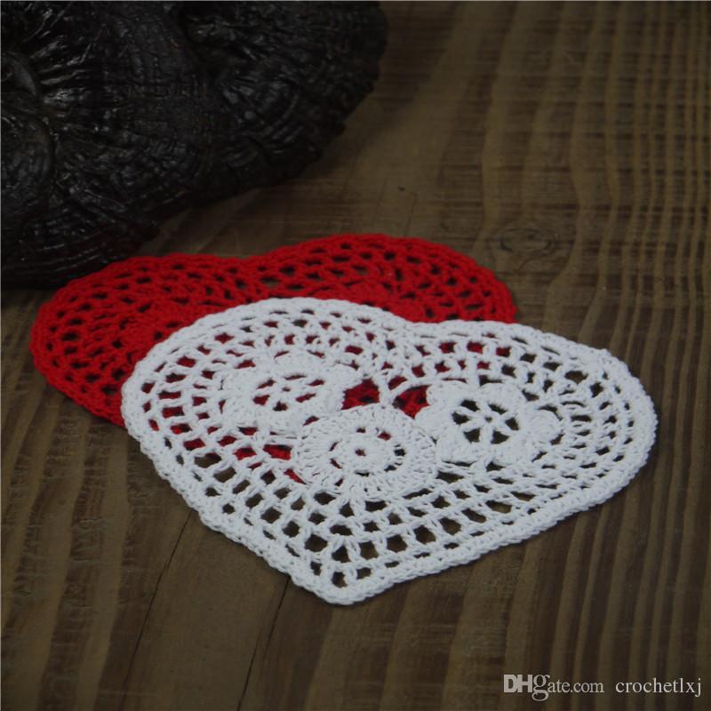 Frete grátis atacado 100% algodão feito à mão em forma de coração crochê doily lace cup mat vaso mat, coaster 13 cm esteira de tabela 20 PÇS / LOTE