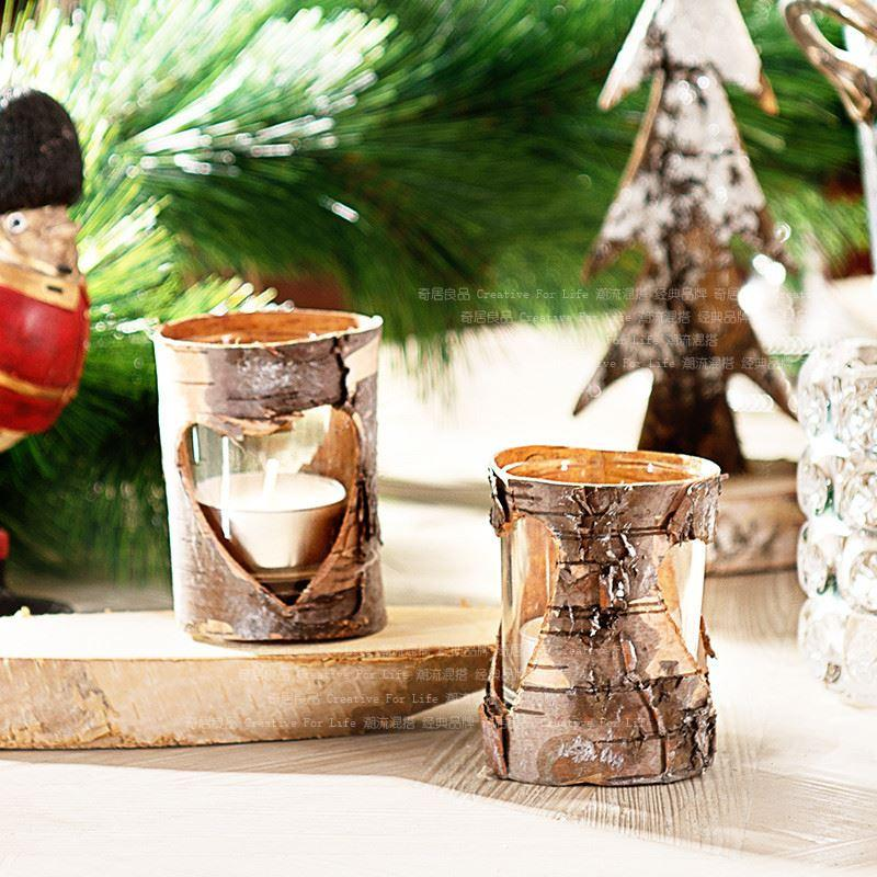 Grosshandel Neu Birkenrinde Glaskerzenhalter Herzform Holz Vintage