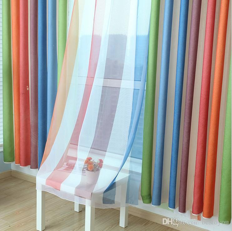 2018 Rainbow Curtains + Sheers Boys Girls Bedroom Curtains Dhl Free ...