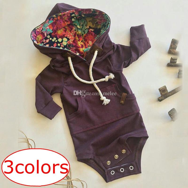 INS XMAS Solid Warm Neonate Body a maniche lunghe Ragazzi Ragazze Autunno Inverno Vestiti New Born Baby Pocket Hooded Ropa Bebe Body neonato