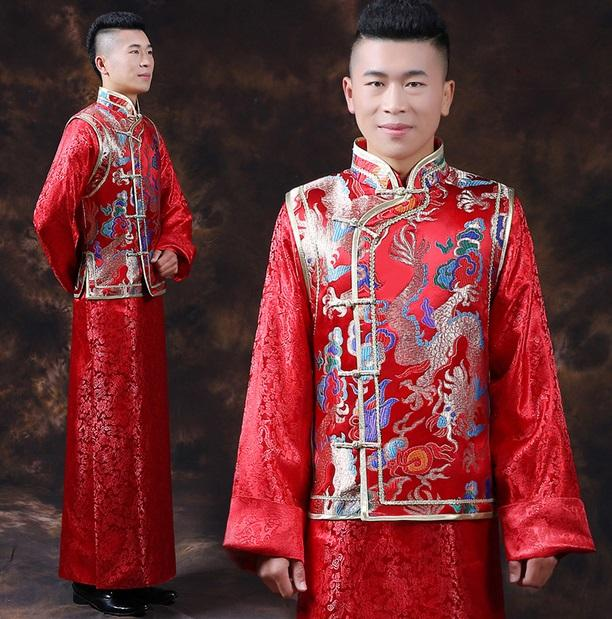 Mens Male Red Chinese Wedding Dress Dragon Long Robe Grown Tang Suit ...