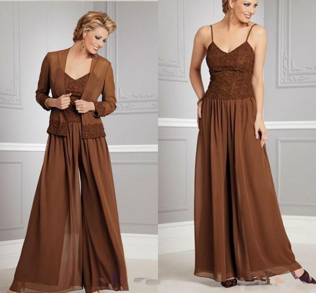 Plus Size Coffee Chiffon Mothers Suit Long Sleeves Mother Of The