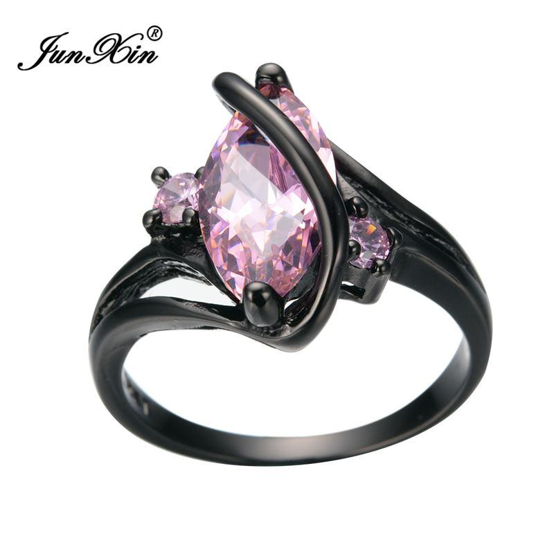 New Summer Fashion Oval Crossed Pink Sapphire Female Ring Black Gold ...