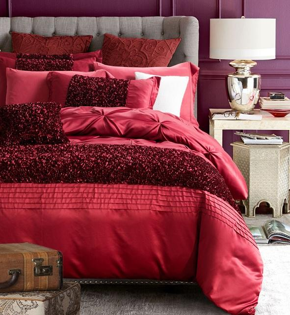 Red luxury bedding set designer bedspreads cotton silk for Luxury cotton comforter sets