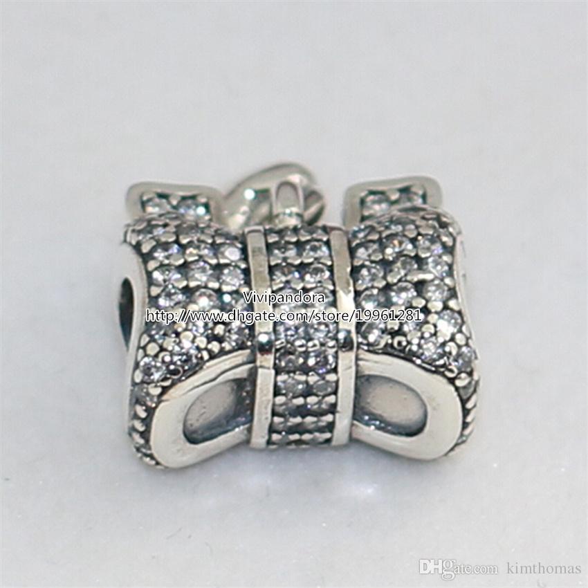 925 Sterling Silver Heart and Bow Charme Bead com CZ Claro Serve Para Pandora Europeia Estilo Jóias Pulseiras Colares Pingente