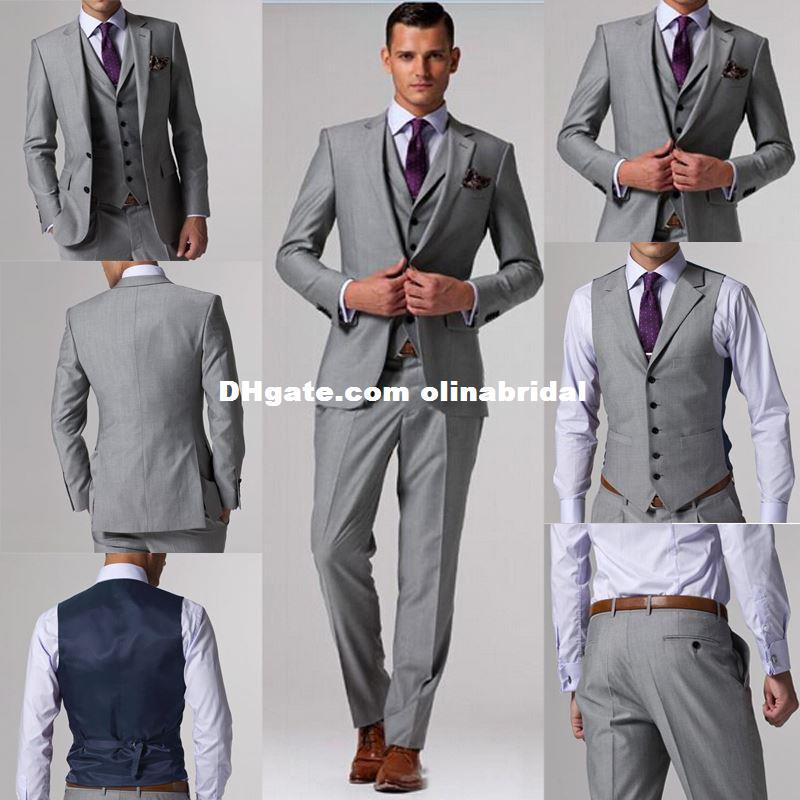 Custom Made Suits/// Light Grey Groom Tuxedos Suits /Custom Wedding ...