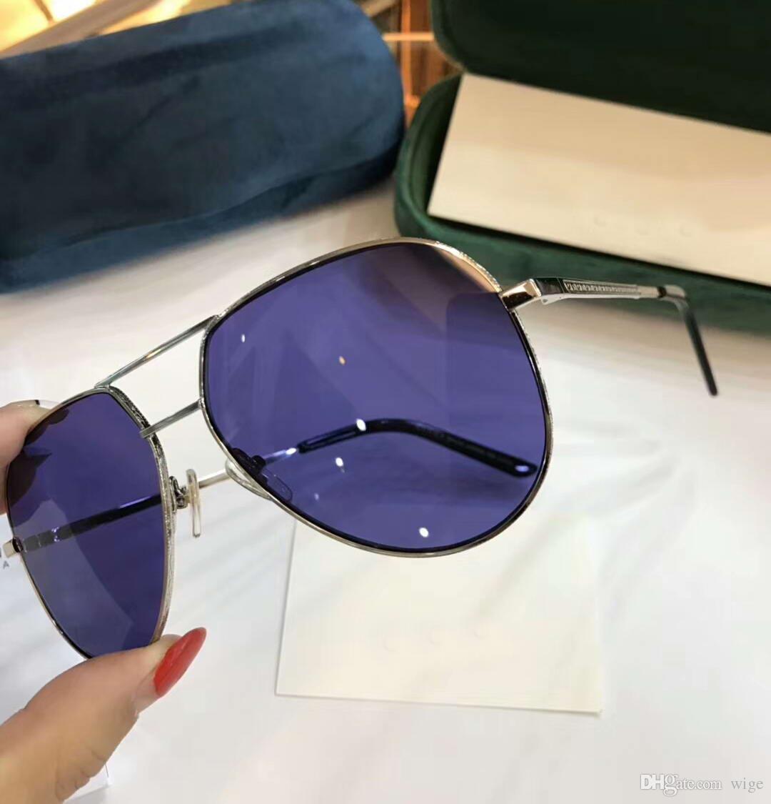 Großhandel Frauen Mann Flieger Sonnenbrille Goldmetallrahmen Blaue ...