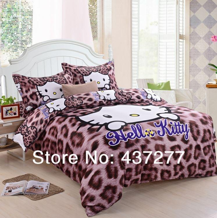 Sexy Leopard Print Hello Kitty Bedding Sets Egypt Cotton Twin Full
