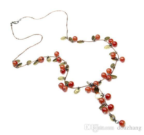 Mode Sweet Vintage Bijoux Rouge Acrylique Perle Cerise Chaîne Long Collier Bracelet Boucle D'oreille Bijoux Ensemble En Gros 10 Ensembles