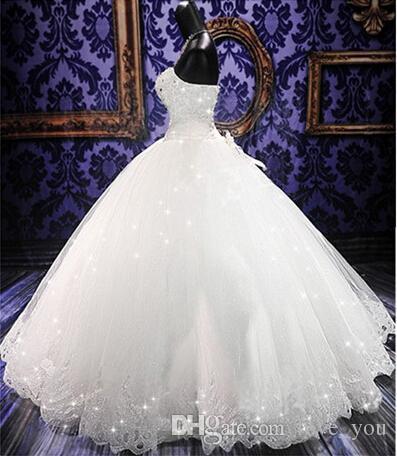 Высокое Качество Реальные Фото Bling Bling Кристалл Свадебные Платья Обратно Бандаж Тюль Аппликации Длиной До Пола Бальное Платье Свадебные Платья