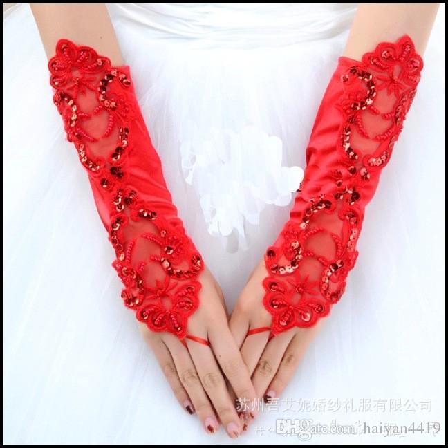 2016 envío gratis barato largo debajo de los guantes de longitud del codo para la novia negro rojo sin dedos de encaje perlas de perlas accesorios de boda guantes de novia