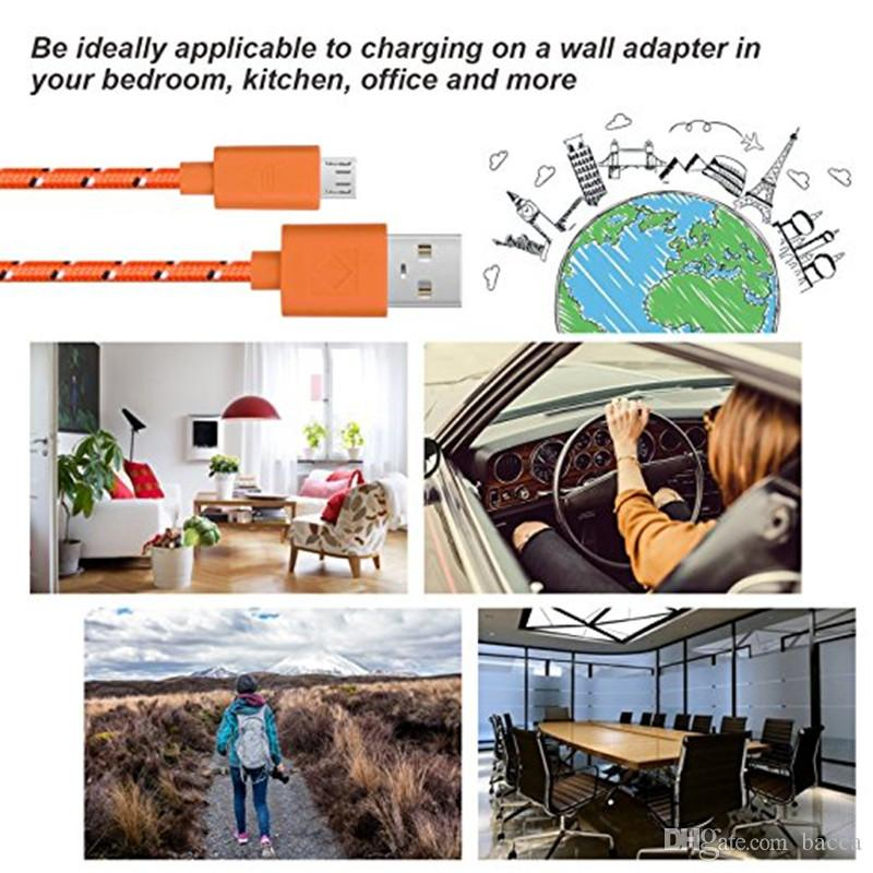 20CM/1M/2M/3M Braided nylon Micro USB charger data Cable Woven Charger Cords Fast Charging Microusb Android