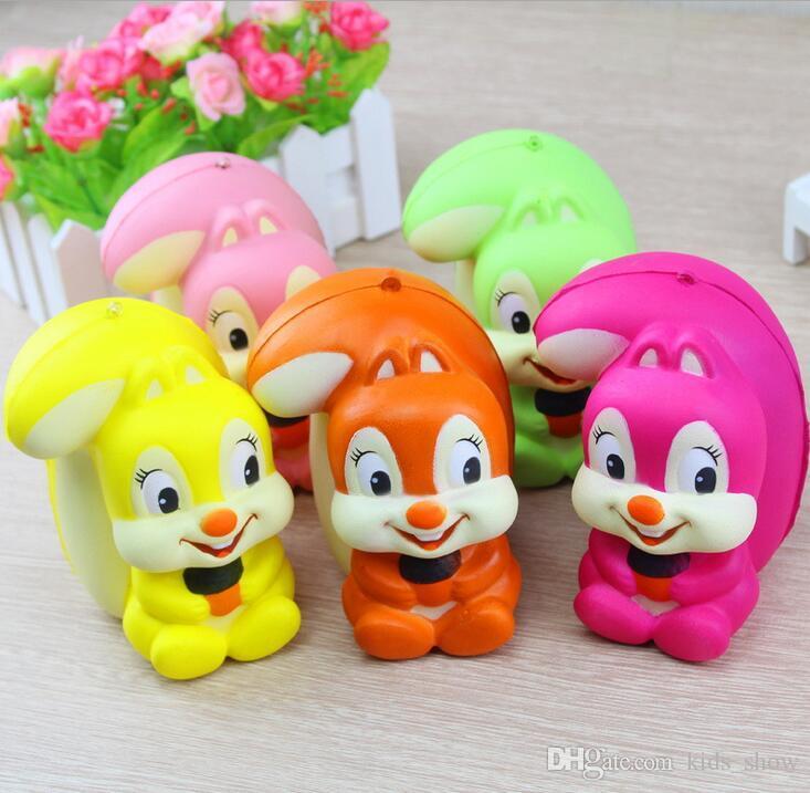 11CM Cartoon Squirrel Squishy Cute Animal Slow Rising Phone Strap Keychain Soft Scented Bread Cake Kid Toy