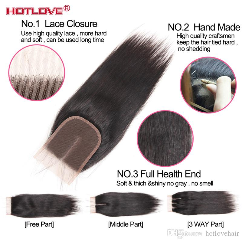 Hotlove Hair Brazilian Virgin Human Straight Hair 3 Bundles with Lace Closure Free / Middle / Three Part Natural Black