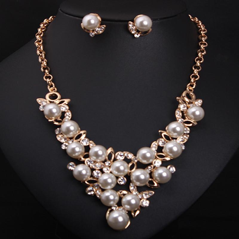 Joyas Good Pearl Princess Jewelry sets collar y Pendientes Mujer 2015 Nuevo regalo de declaración N121