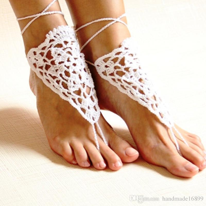 38d20eeaa5a1 Crochet White Wedding Barefoot Sandals