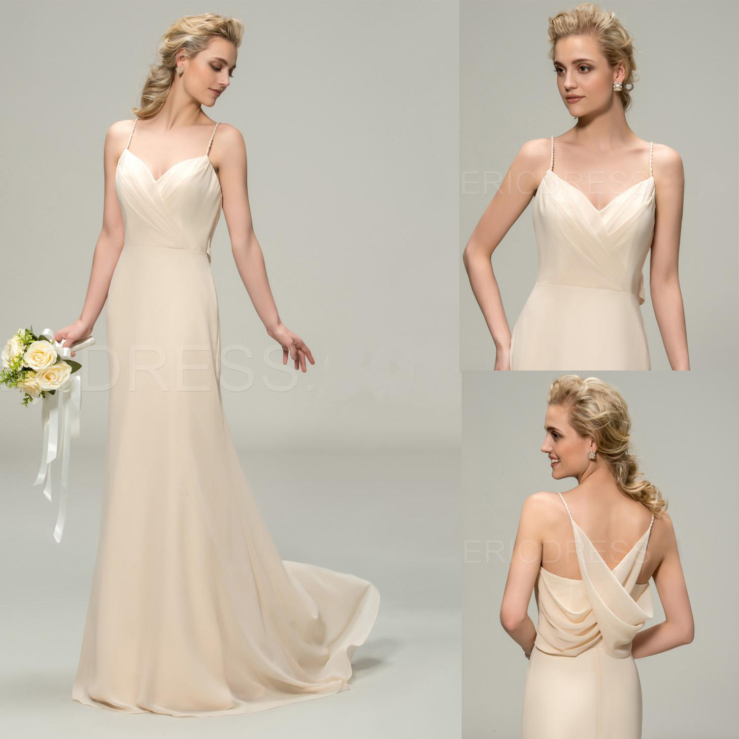 Champagne bridesmaid dresses 2015 long pleated spaghetti straps see larger image ombrellifo Images