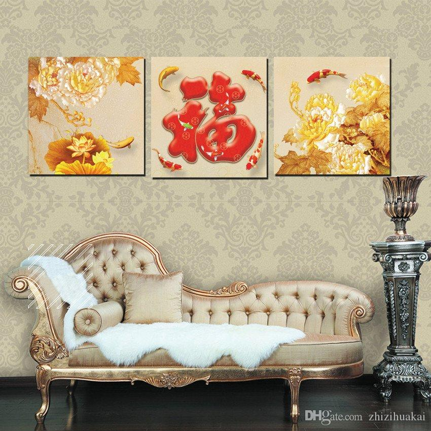Home decoration on Canvas Print potted flower chinese characters wedding ring Wooden pier Bridge sea island reef