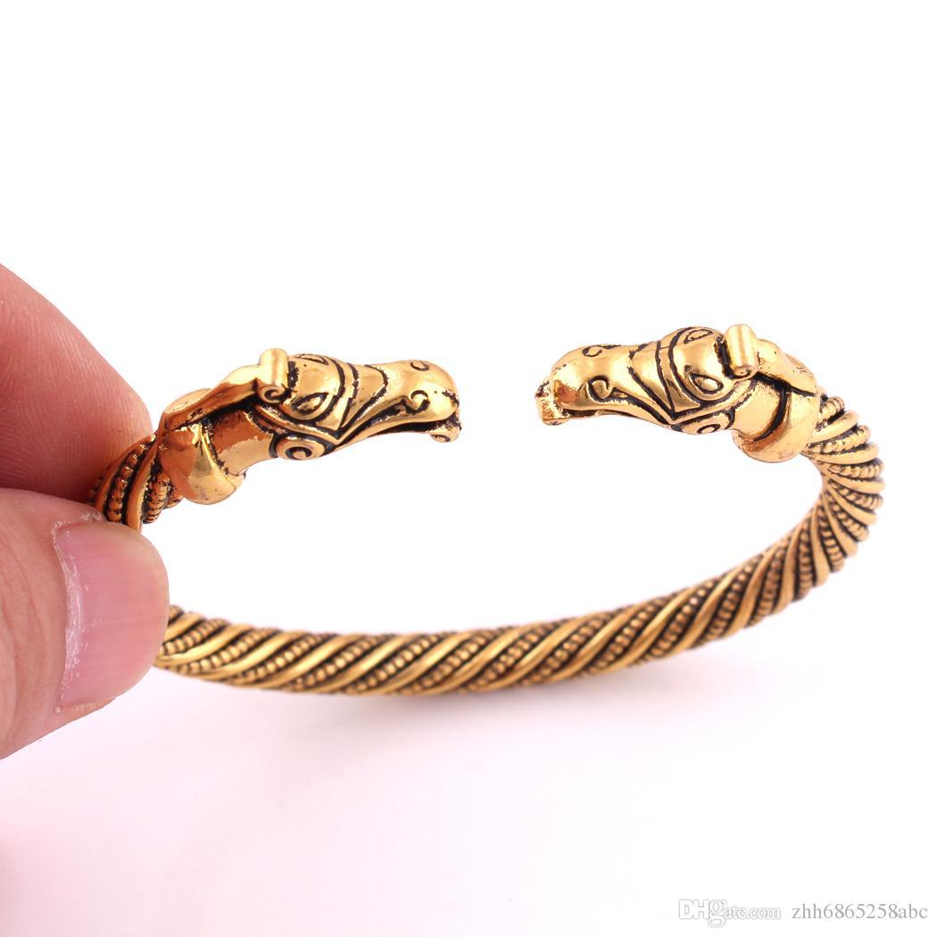 تميمة مجوهرات الفضة أو الذهب راجنر jelling فايكنغ سوار التنين المجوهرات وثنية الظلام الوثن الوحش التنين الاسوره blacelets