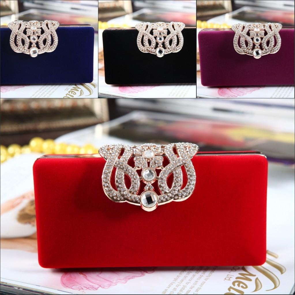 85c5349472c8 Hot Sale Velvet Bridal Hand Bags Red Black Blue Purple Crystals Shining  Beauty Girls Formal Party