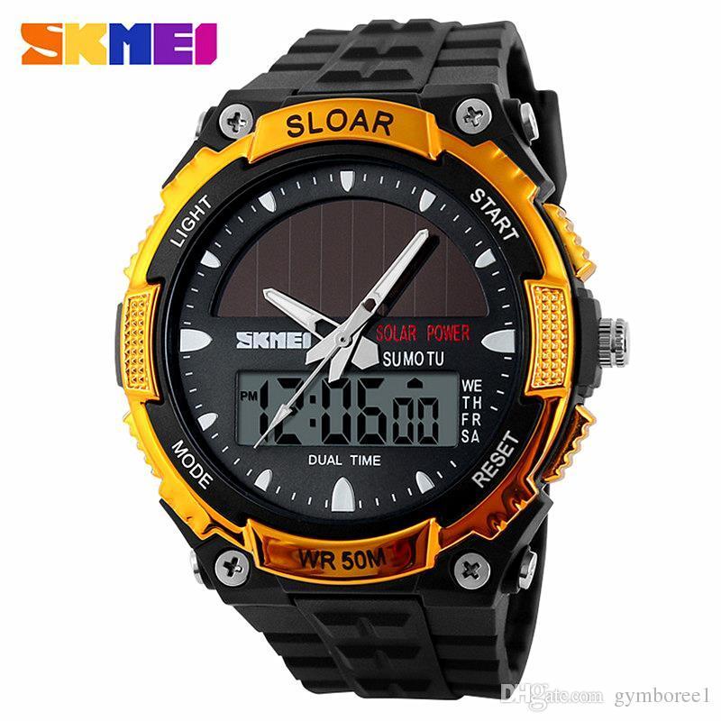 Digital Watches New Energy Solar Watch Men Digital Sports Led Men Watches Solar Dual Display Watches Men Watch Sports Military Wriswatch Relojes