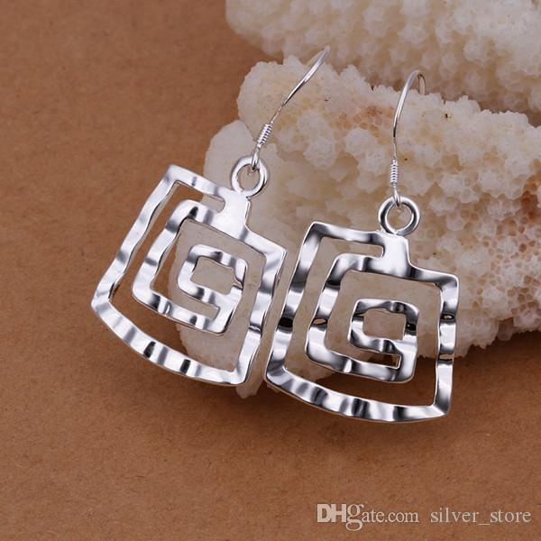 Brand new sterling silver plated Square thread earrings DFMSE344,women's 925 silver Dangle Chandelier earrings a factory direct