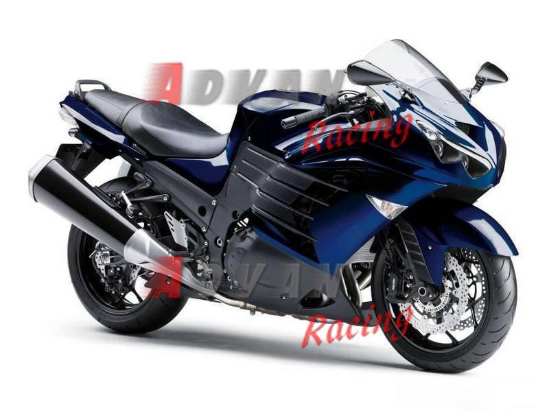 Black blue Injection Fairings Bodywork Set kit Kawasaki Ninja ZX14R 2012-2014 10