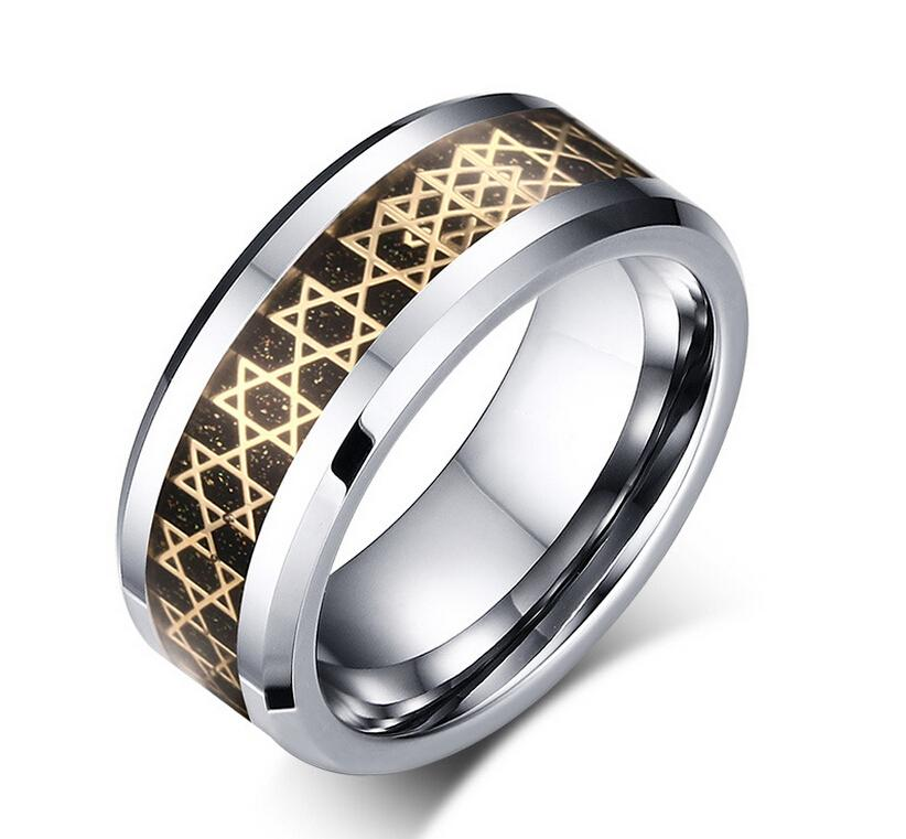 8mm Tungsten Steel Star Of David Rings MenS Textured Tungsten