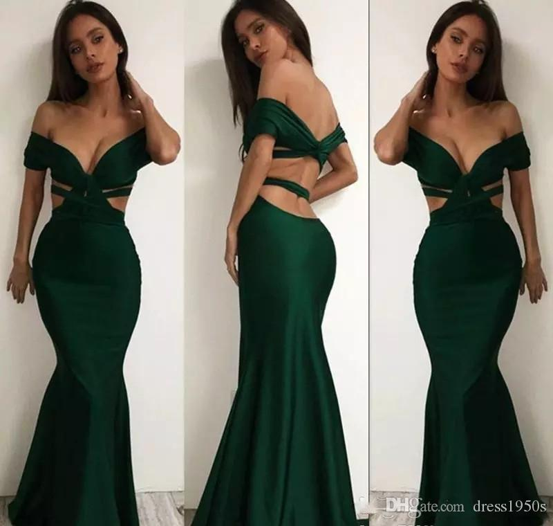 A buon mercato Off spalla verde scuro abiti da sera sexy sirena di raso backless abito da ballo formale prom party gown custom made plus size
