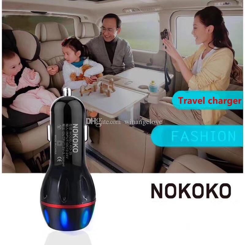 Double usb ports Led lumière Strawberry Chargeur de voiture Chargeurs 2.1A + 1A Adaptateur pour iphone 6 6s 7 plus pour samsung s4 s6 s7 haut-parleur mp3 gps