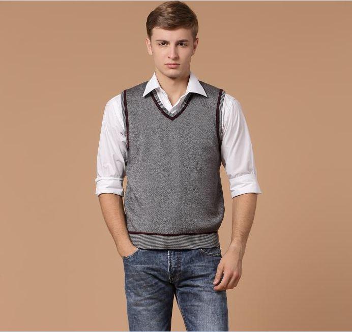 Men Business Casual V-neck Sweater Vest Solid Color Sleeveless ...