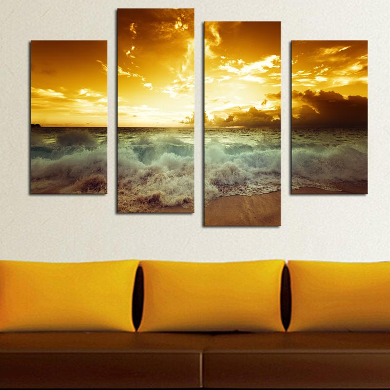 Sea Wave Sunset Canvas Printing Lanscape Unframed Wall Art Picture for Living Room Bedroom Decoration