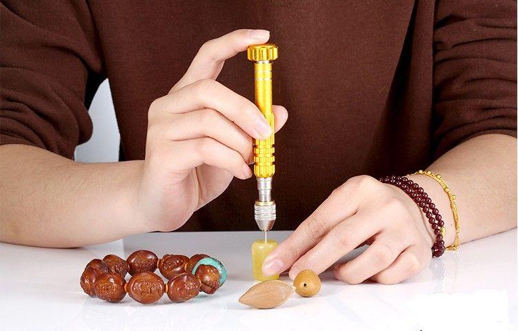 Spiral Hand Drill Semi Automatic Pin Vise keyless Chuck Jewelry Walnut Manual Drilling Hole Carving Twist Drill Bits Set