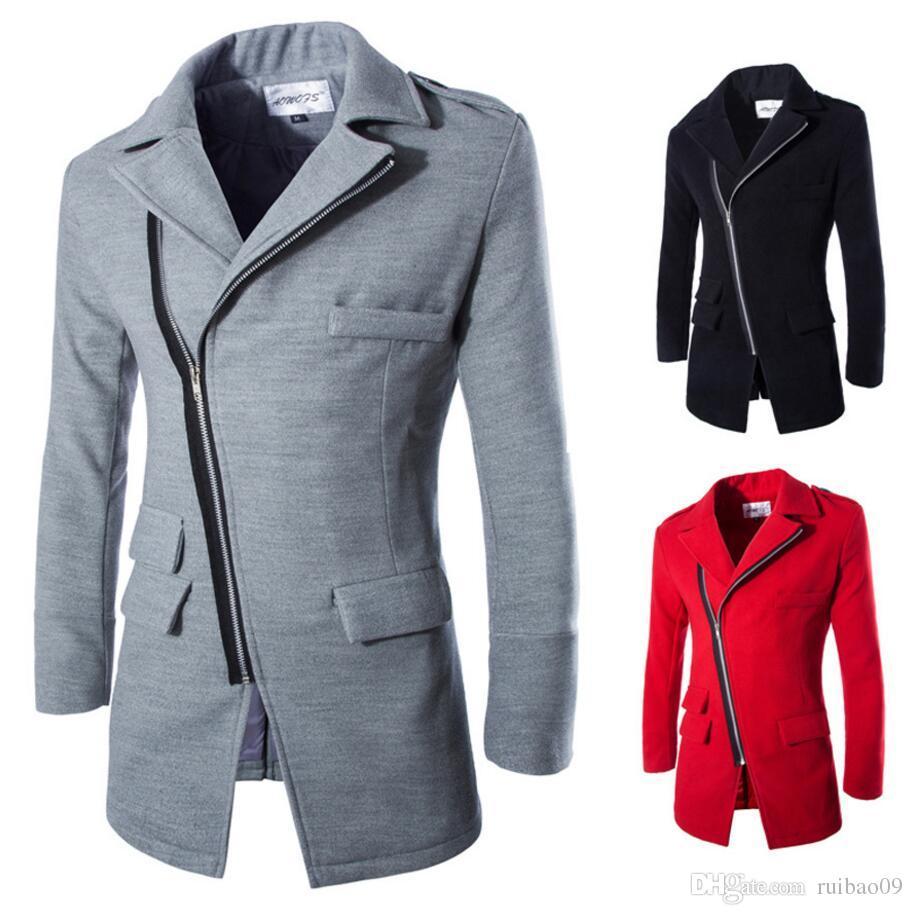 Men\'S Wool Jacket Coat Inclined Zipper Design Fashion Novelty Casual ...